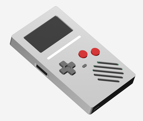 A render of the assembled device.  The white bar is a light pipe for the RGB LED.