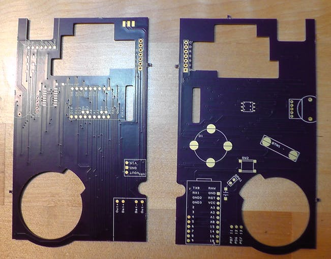 Physical PCBs from OSHPark.