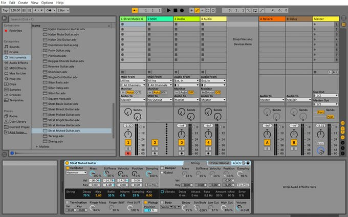 Instrument selection at Ableton Live