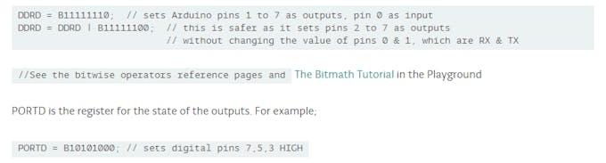 Arduino port manipulation reference