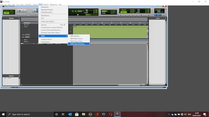In Pro Tools go to Setup -> MIDI -> MIDI Input Devices