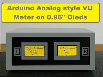 DIY Analog Style Stereo VU Meter on I2C OLED
