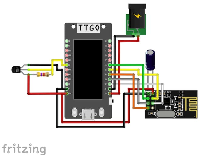 Figure 10: Assembly of LILYGO TTGO T-Display's receiver part. Refer to Figure 3 for pinout configuration of nRF24L01. (Circuit designed using fritzing)