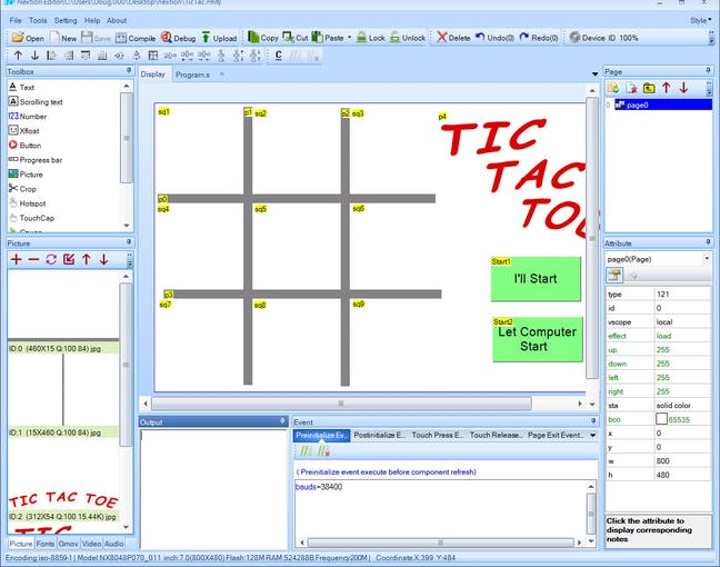Editing Tic Tac Toe with Nextion Editor