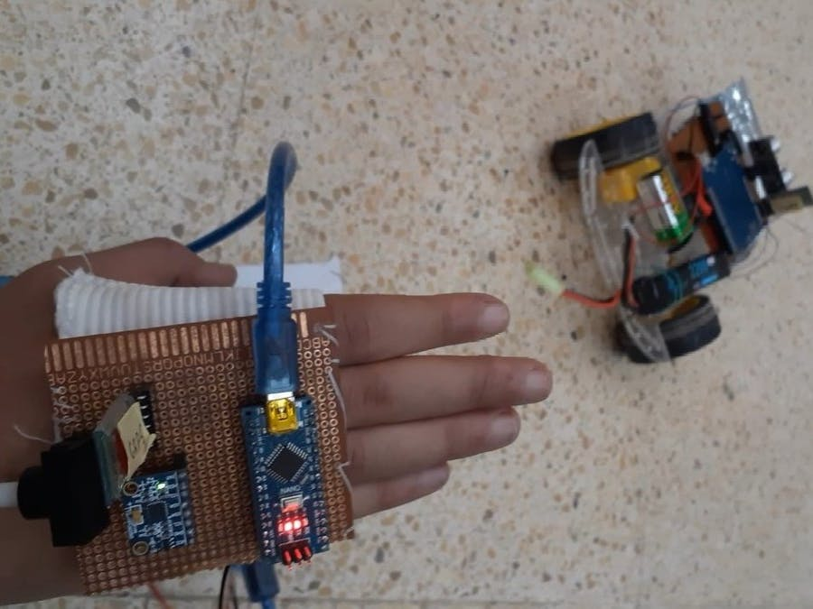 Hand Gesture Controlled robot