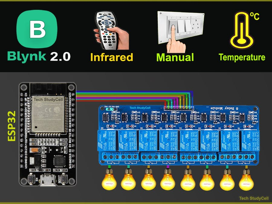 IoT Projects using ESP32 Blynk & IR Remote control Relays