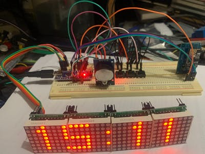 32x8 LED Matrix NTP Clock with DS3231 RTC & ESP01