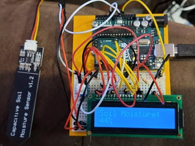 Output Capacitive Moisture as percentage on Serial and LCD
