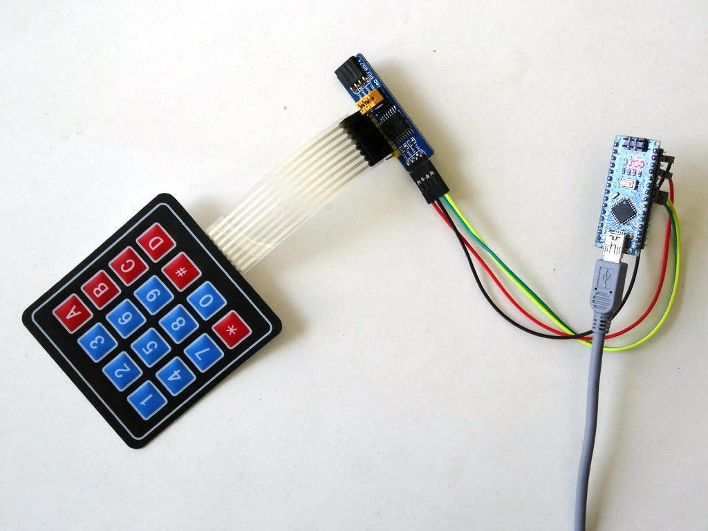 I2C Matrix Keypad With PCF8574/PCF8574A GPIO and Visuino
