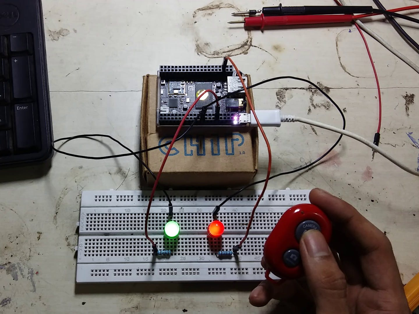 Selfie Hack: Control LEDs using Selfie Bluetooth Remote