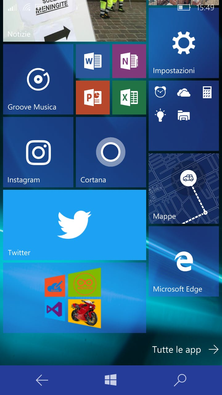 Windows 10 mobile start page (Lumia 650)