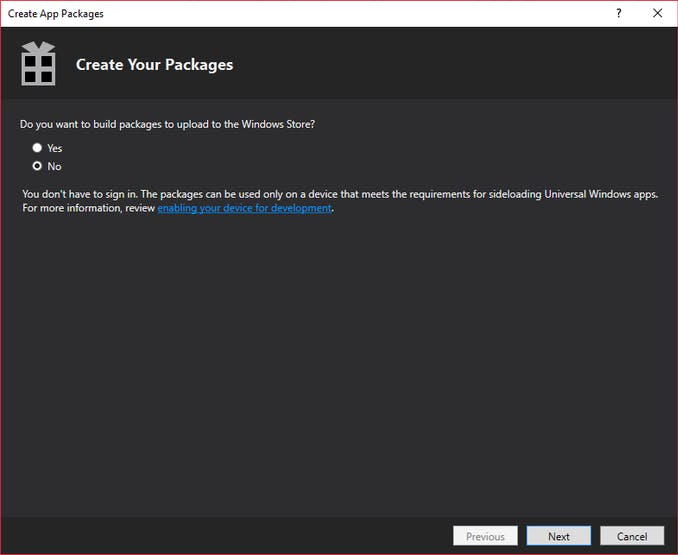 Create Package - phase 1