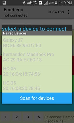 Paired devices/scan for devices - HC-05