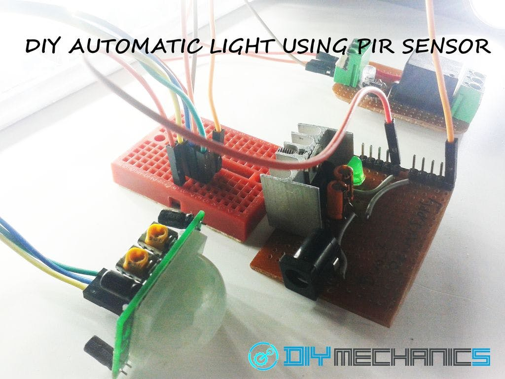 Diy Simple Automatic Light Using Pir Motion Sensor Occupancy Sensors For Lighting Control Wiring Diagram