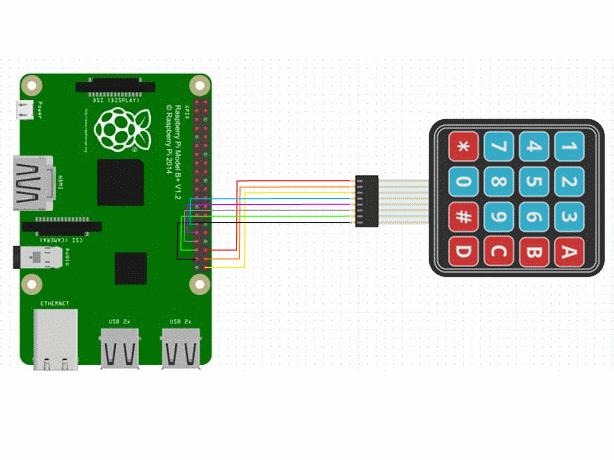 4x4 matrix keypad with a raspberry pi and c hackster io rh hackster io Keypad Matrix Schematic 3X4 Matrix Keypad