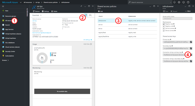 Azure Portal: Setting up your IoT Hub