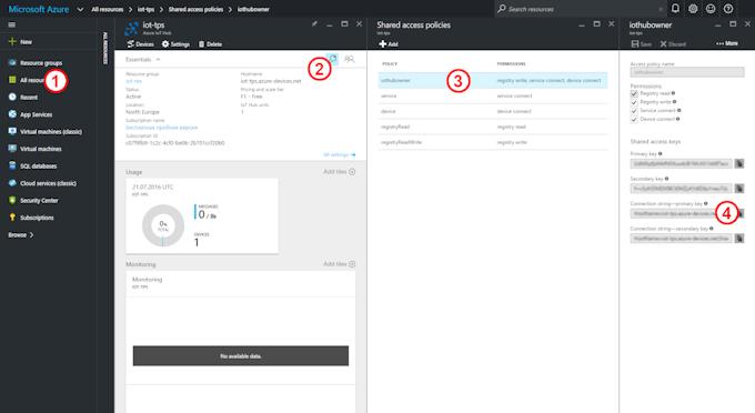 Azure Portal: Setting up your IoT Hub