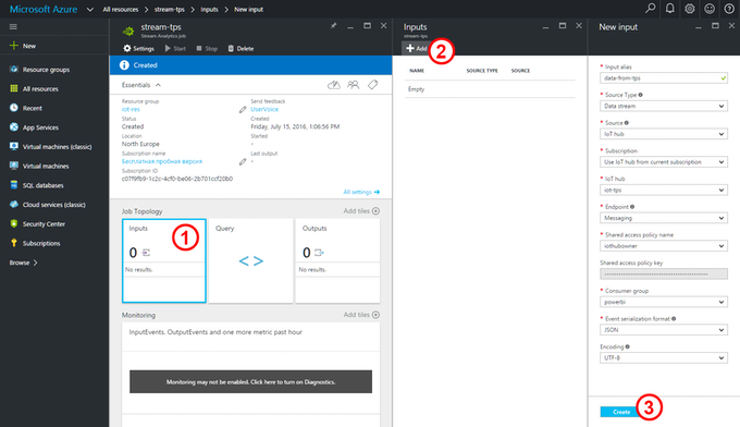 Azure Stream Analytics:  Setting up Inputs