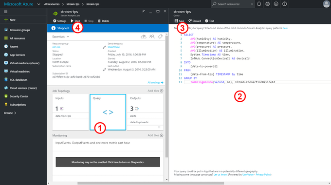 Azure Stream Analytics:  Writing the Query