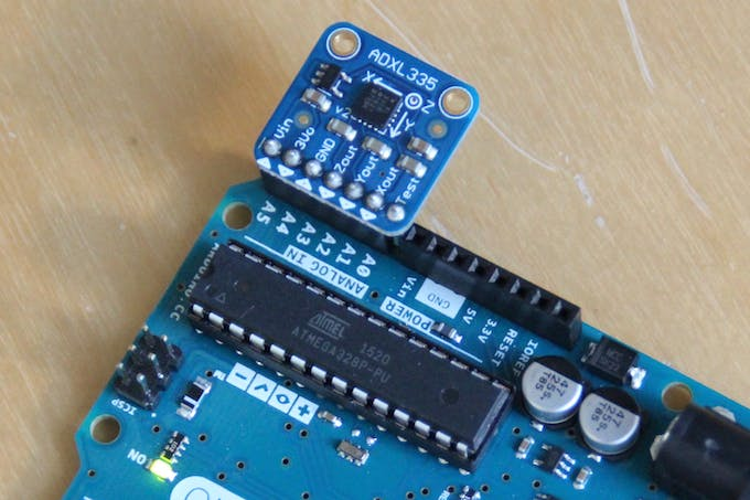 Connecting the ADXL335 breakout directly to the Arduino (Uno). Notice the test pin is unconnected, between A0 and Vin.