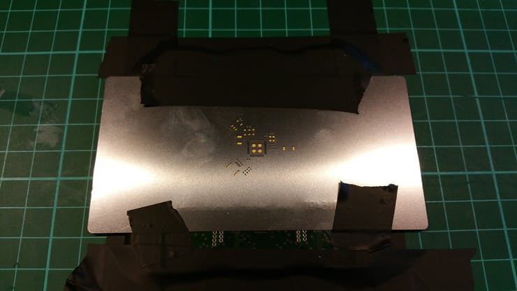 Preparing the stencils to put the solder paste