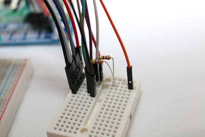 Mini-breadboard used to bride the two devices (contains pull-up resistors for i2c).