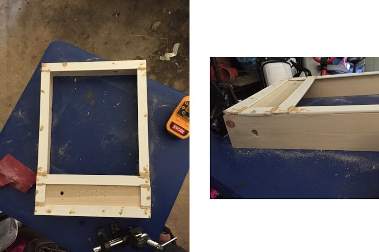 The assembled frame before sanding and painting