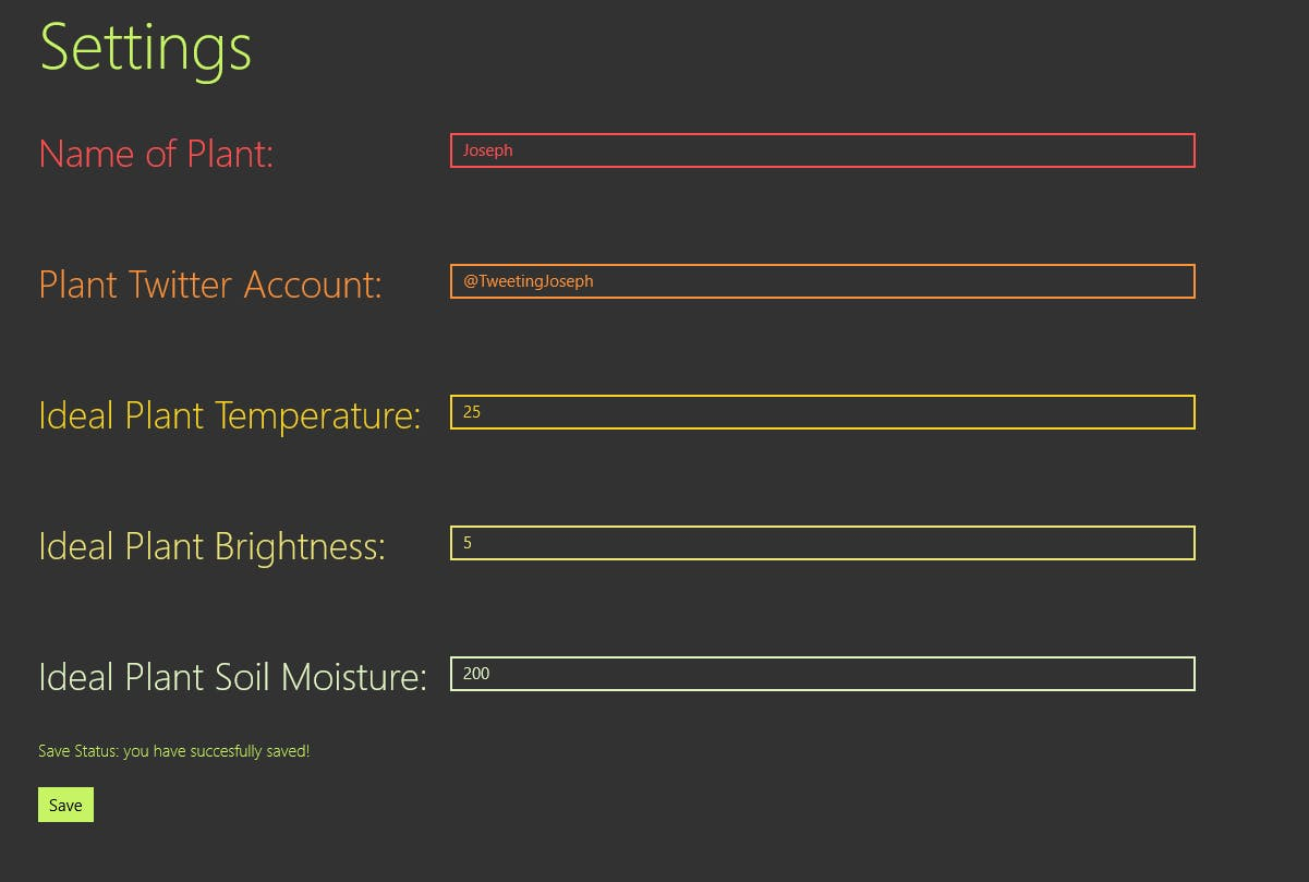 Picture of Settings Page