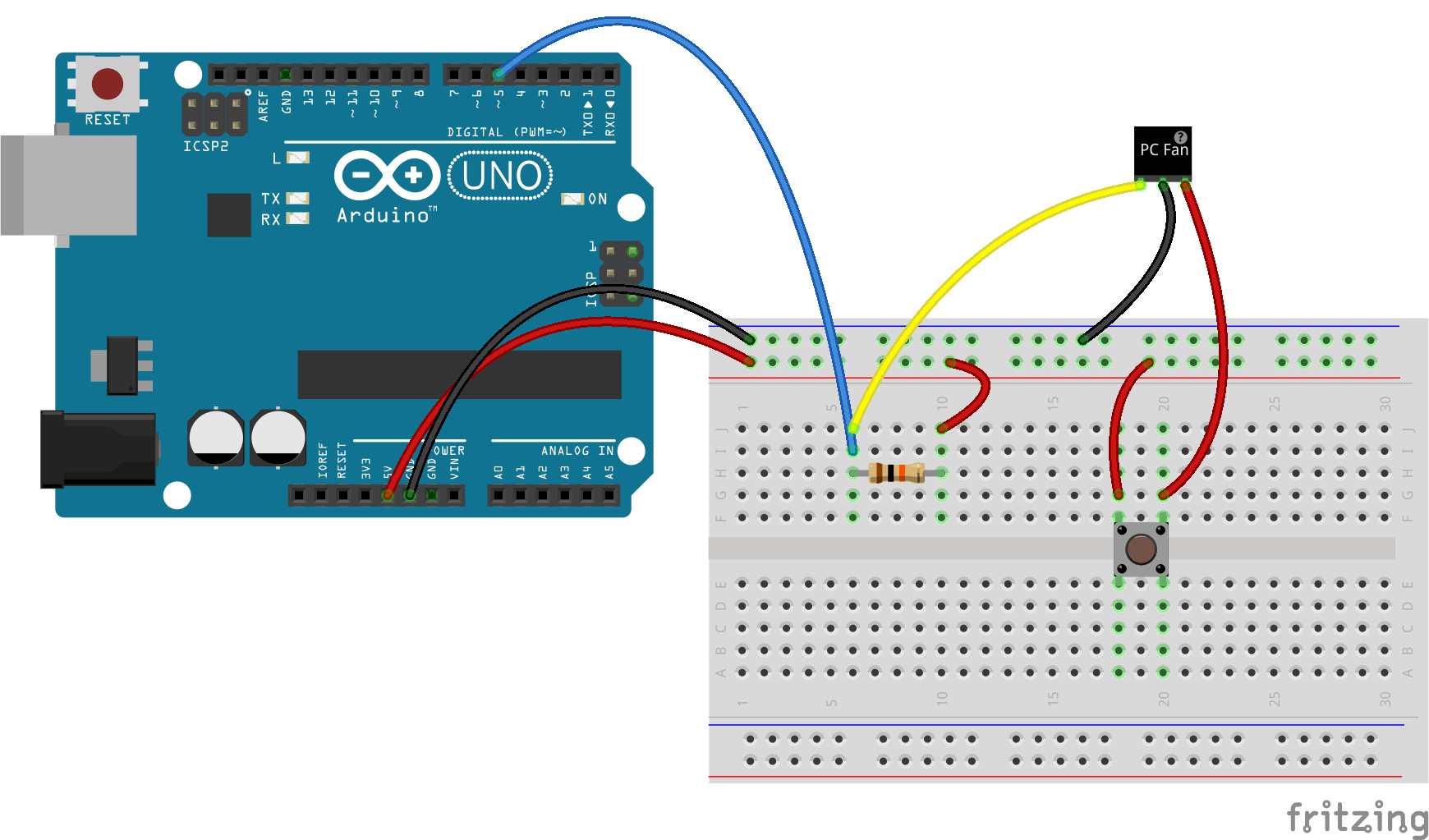 Wiring for testing the fan on an Arduino Uno.