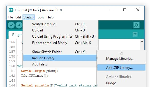 Step 1: Arduino -> Sketch / Include Library / Add .ZIP Library...
