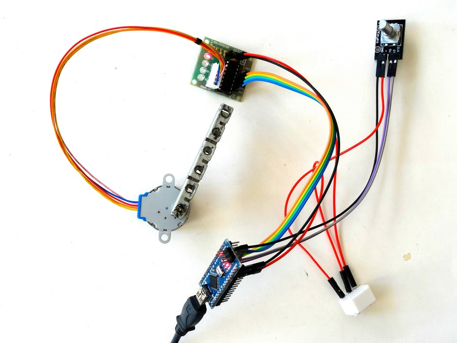 arduino visuino control stepper motor with rotary