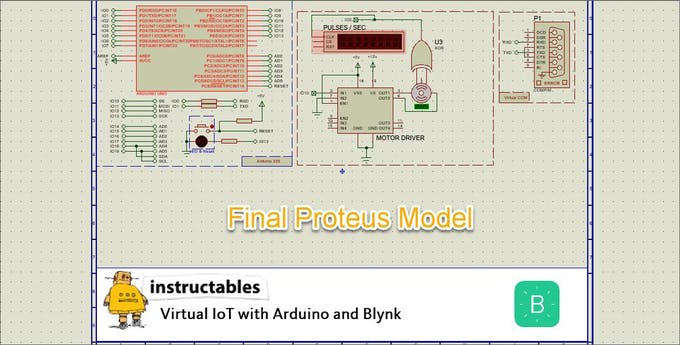 Virtual IoT With Proteus and Blynk : Servo Motor Monitor - Arduino