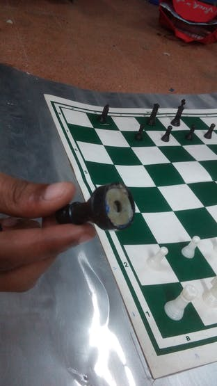 Chess coin with metal base.