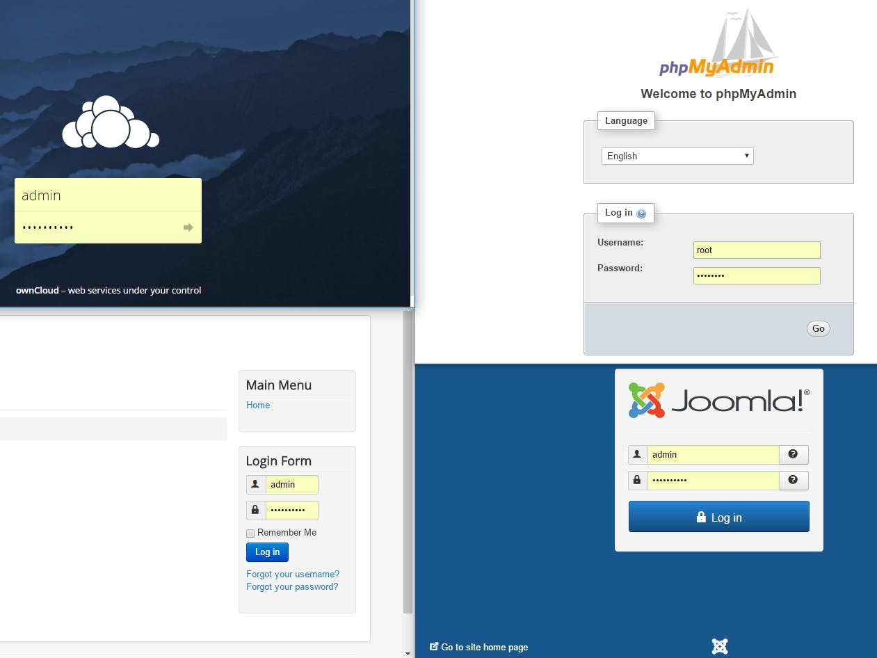 Ubuntu Server 16.04 with Joomla, Owncloud