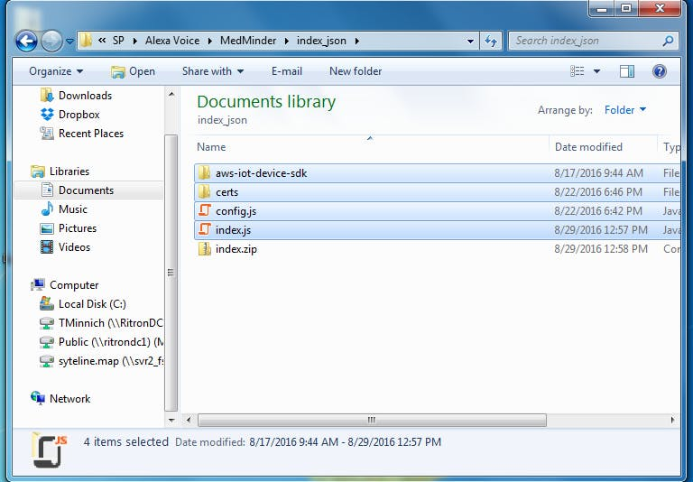 zipping up the directories and files