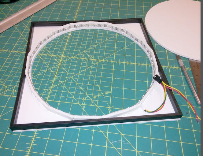 In this photo I've added a couple spacers from the Shadow Box picture frame to check the fit.