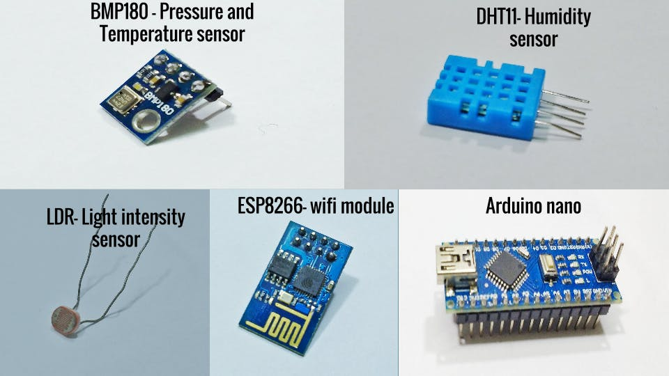 Electronics components needed for Personal Weather Station
