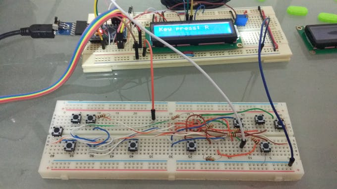The circuit for the RC controller in a breadboard