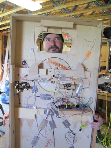 Mad Maker at work after a few hours of wiring and soldering.