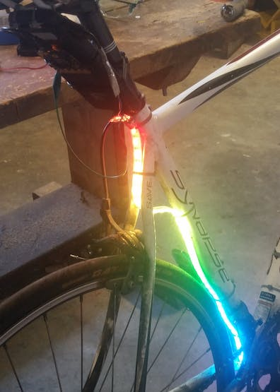 A simple rainbow lighting on the neopixel strip.