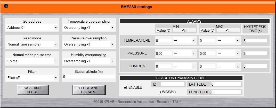 PWB-BME280 App configuration