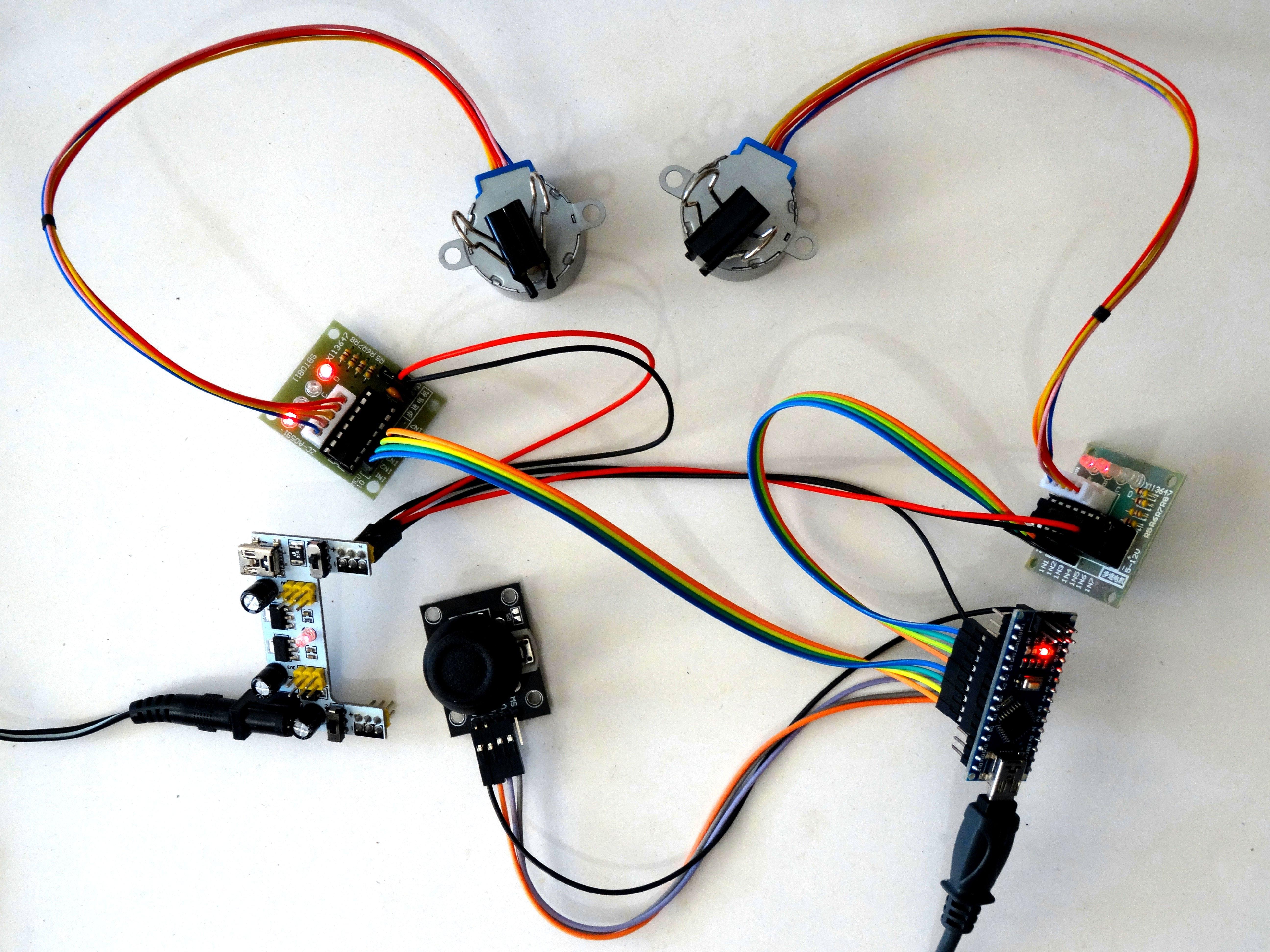 arduino nano control 2 stepper motors with joystick hackster io rh hackster io Xbox 360 Joystick Wireing Western Joystick Controller