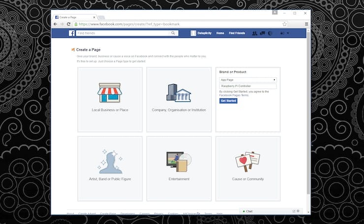 Setting the type of Facebook page to create