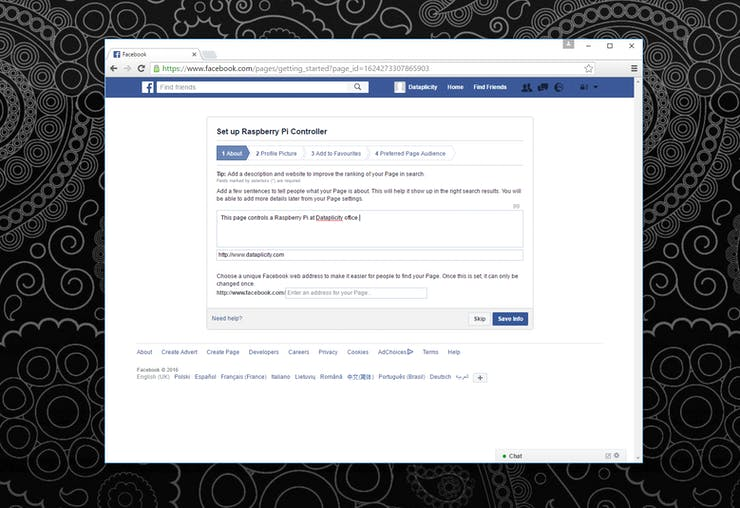 Filling in the details of the Facebook page
