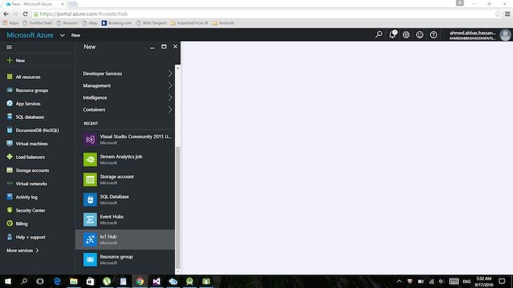 step 1: Create New IOT hub