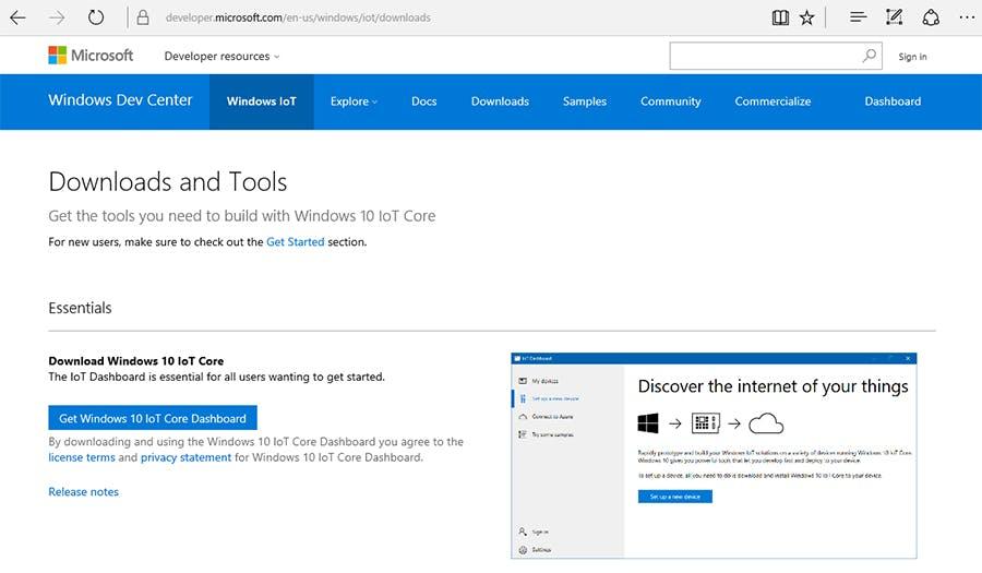 Windows IoT Core Dashboard download center (Microsoft)
