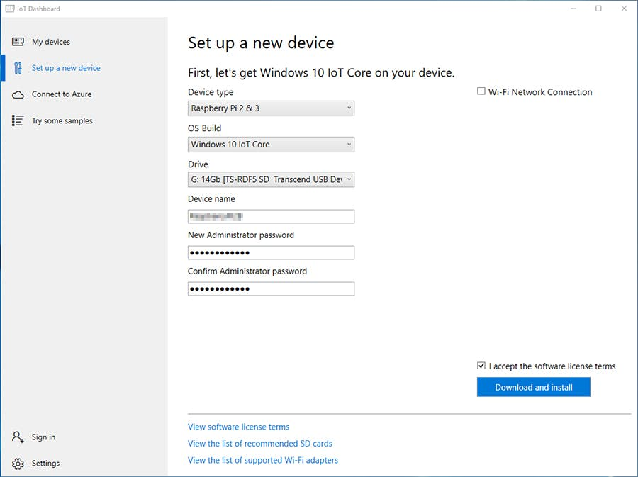 Windows IoT Core Dashboard Setup a new Device