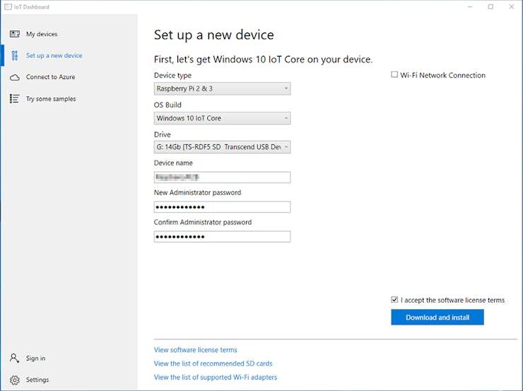 Windows IoT Core Dashboard Setup a new Device
