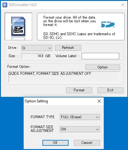 Configuración del formato de kit de ajuste de tamaño de formato en ON