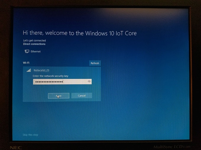 WiFi ventana de configuración de la red